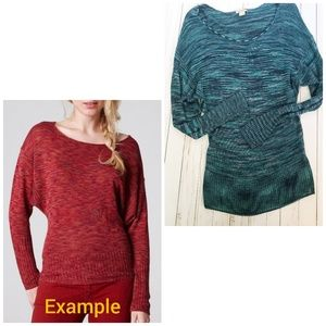 Lucky Brand Dolman Sparrow Space Dye Sweater large